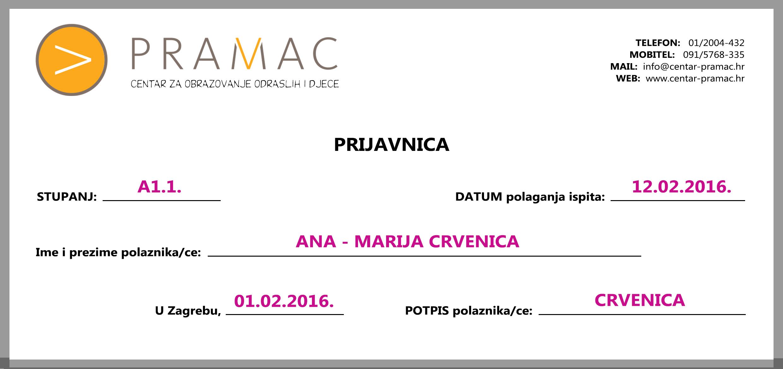Prijavnica za ispit PRIMJER - PRAMAC.
