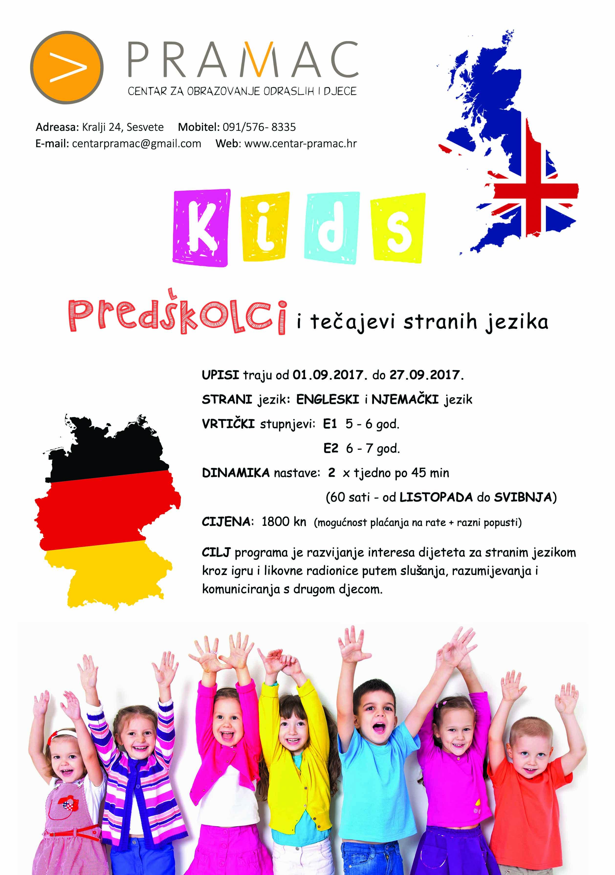 PREDŠKOLCI - tečaj stranog jezika - plakat - 2017 - manja rezolucija